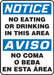 """Bilingual OSHA Safety Sign - NOTICE: No Eating Or Drinking In This Area, 14"""" x 10"""", Pack/10"""
