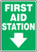 "Safety Sign: First Aid Station Sign, 14"" x 10"", Pack/10"