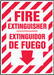 """Bilingual Fire Safety Sign: Fire Extinguisher (Arrow), 14"""" x 10"""", Pack/10"""