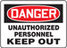 """OSHA Safety Sign - DANGER: Unauthorized Personnel Keep Out, 14"""" x 20"""", Pack/10"""