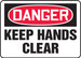 """OSHA Danger Safety Sign - Keep Hands Clear, 14"""" x 20"""", Pack/10"""