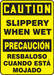 """Bilingual OSHA Safety Sign - CAUTION: Slippery When Wet, 20"""" x 14"""", Pack/10"""