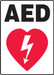 """Safety Sign: AED (Graphic), 20"""" x 14"""", Pack/10"""
