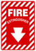 """Safety Sign: Fire Extinguisher (Arrow), 20"""" x 14"""", Pack/10"""