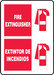 "Bilingual Fire Safety Sign: Fire Extinguisher, 20"" x 14"", Pack/10"