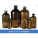 8oz (240mL) Amber Glass Boston Round, 24-400 Phenolic PolyCone Lined Caps, Vacuum & Ionized, case/24