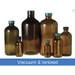 32oz Amber Glass Boston Round, 33-400 Green Thermoset F217 & PTFE Lined Caps, Vacuum & Ionized, case/12