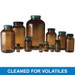 250mL Amber Wide Mouth Packer, 45-400 Green Thermoset F217 PTFE Lined Cap, Cleaned for Volatiles, case/24