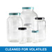 32oz Clear Wide Mouth Bottles, 70-400 Green Thermoset F217 PTFE Lined Cap, Cleaned for Volatiles, case/12