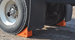 "Pickup Truck In-Between Wheel Chocks, 3.5 Lb Urethane, 11.25"" x 8"" x 8.25"" Orange with 48"" Rope, Pair"