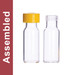WHEATON® MicroLiter Clear Screw Thread Vial Kit, Yellow 9mm Cap, PTFE/Silicone/PTFE Septa, pack/100