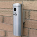 """Deluxe Cigarette Smokers Post, 3.5"""" x 12"""" Wall Mount, Satin Aluminum"""