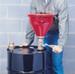 Justrite® Metal Drum Funnel, flame arrester, tip-over protection kit