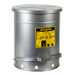 Oily Waste Can, 14 Gallon, Foot-Operated Self-Closing SoundGard Cover, Silver