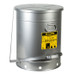Oily Waste Can, 21 Gallon, Foot-Operated Self-Closing SoundGard Cover, Silver