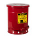 Oily Waste Can, 10 Gallon, Foot-Operated Self-Closing SoundGard Cover, Red