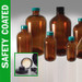 Safety Coated Amber Bottles, 8 oz with Black Phenolic Rubber Lined Caps, case/24