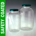 Safety Coated Wide Mouth Glass Jars, 64 oz, PTFE Lined Caps, case/6
