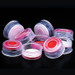 11mm Red PP Crimp Top Seals with PTFE/Silicone Septa, case/1000