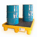 Drum Spill Pallet with Drain, Yellow, 4-Drum