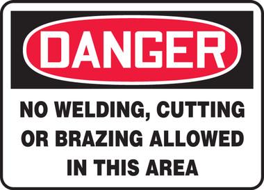 OSHA Danger Safety Sign Welding Area 10x14