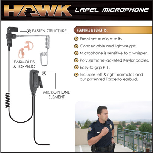 The HAWK microphone with push-to-talk button is sensitive to a whisper.The adapter provides a push-to-talk button.