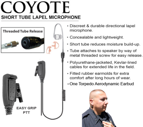 """The COYOTE is an asset to any work environment that demands efficiency in communication and combines our lightweight directional lapel microphone with a clear """"surveillance style"""" short tube earphone."""