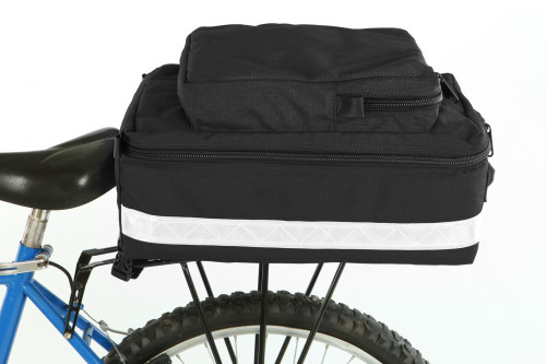 The Bikers Trunk Bag attaches to the rack with Velcro® straps and side release buckles.