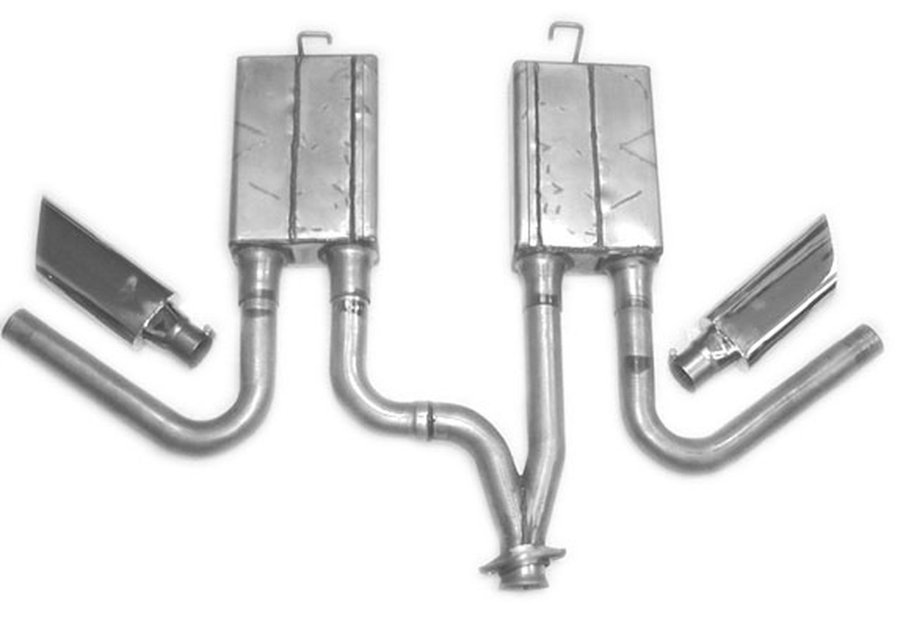 Mustang  V6 Side Exit 99-04, SX61962, Shown with Flat Oval Tips