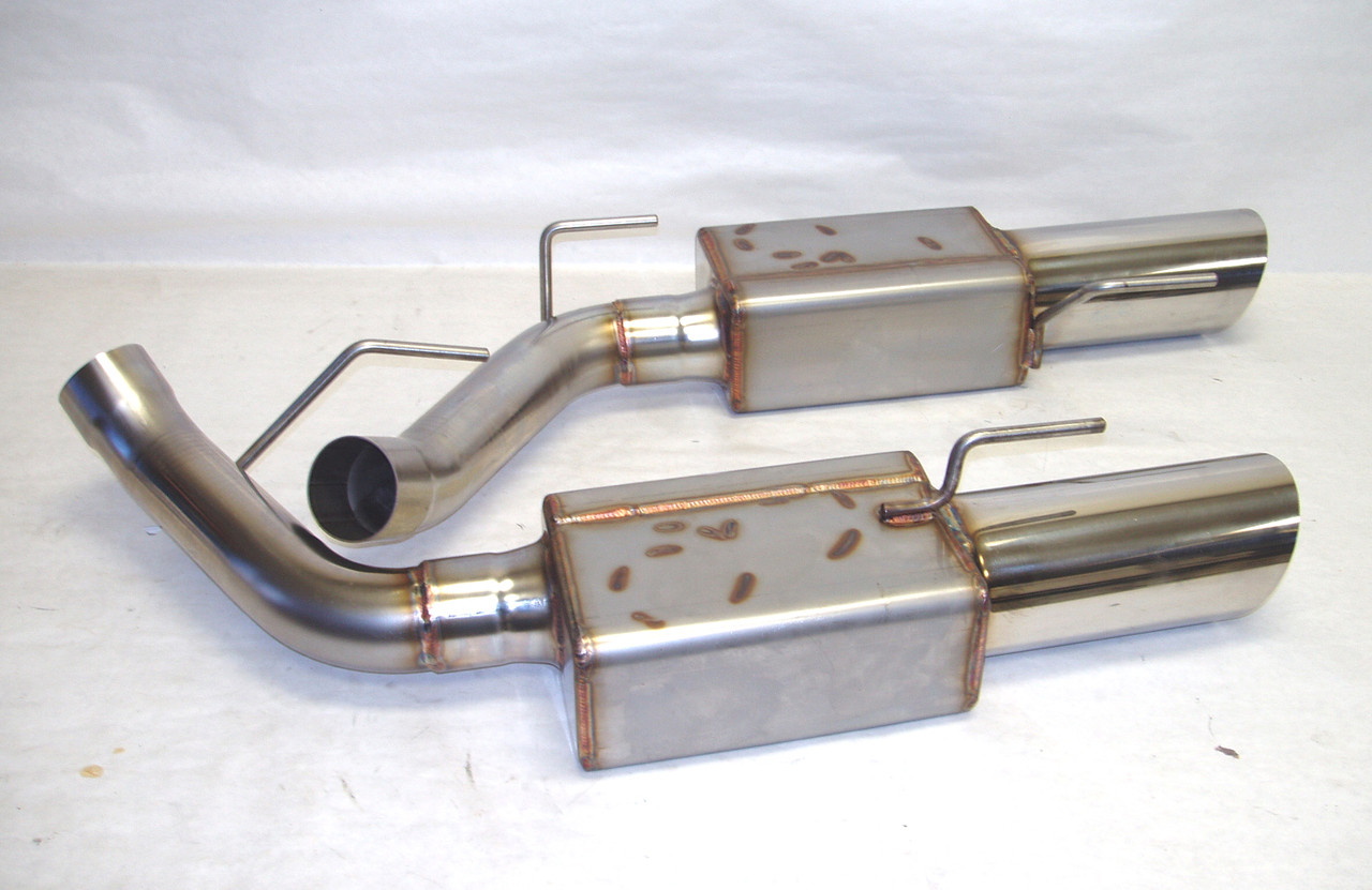 "2005-2010 Mustang Axle back Systems, 9000 Mufflers 4"" Double Wall Stainless Tips"