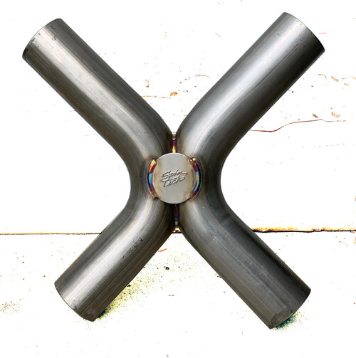 """Universal Round X-Pipe, Stainless Steel,  3.5"""""""