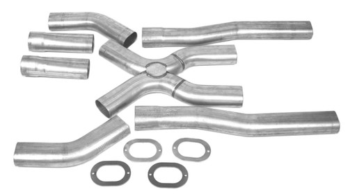 X Panded Universal Oval X Pipe Kit, includes transitions, elbows, (elbows NOT welded to X Pipe),  junction, flow tubes and oval flanges and 3 bolt flanges if needed