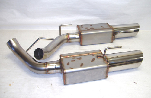 """2005-2010 Mustang Axle back Systems, 9000 Mufflers 4"""" Double Wall Stainless Tips"""