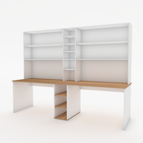 Dual Workstation Bardon Desk with Shelves in White and Native Oak