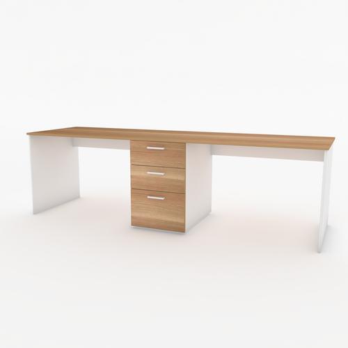 Bond Dual workstation desk  in White and Native Oak 2.4m