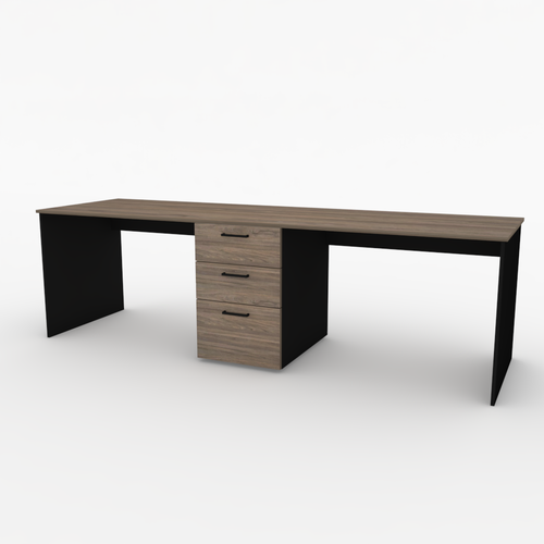 Bond dual workstation desk in Black and Swiss Elm 2.4m
