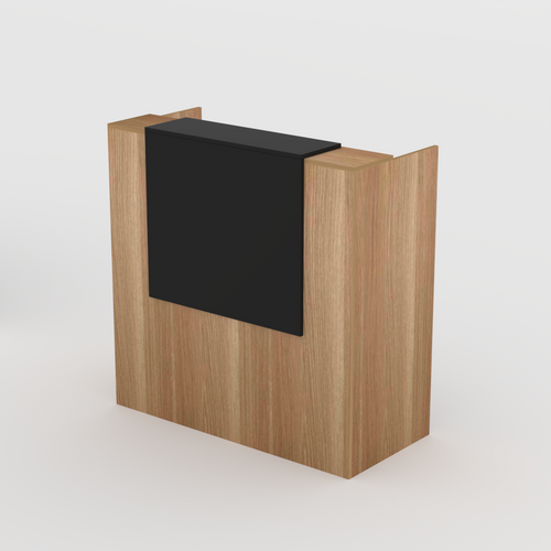 Reception Desk in Native Oak with Black Overhang- Standing or Seated Desk Height