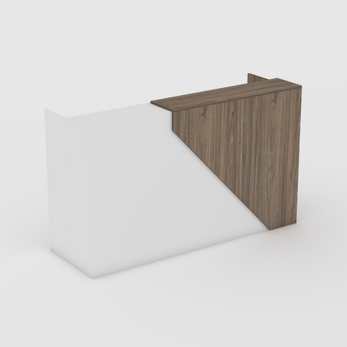 Swiss Elm and White Reception Desk with drawers