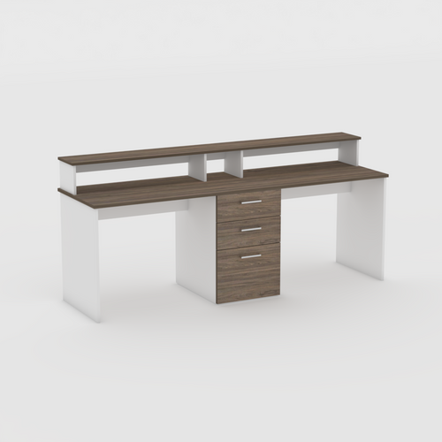 Dual workstation Yale desk with drawers in White and Swiss Elm