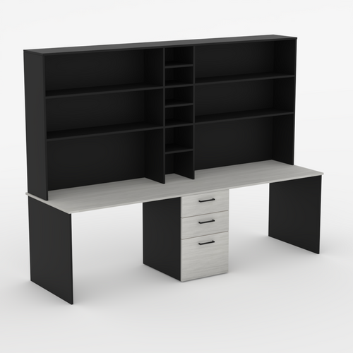 Dual workstation Bardon desk with hutch and drawers in Black and Limed Elm