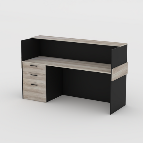Driftwood and Black Reception desk with drawers