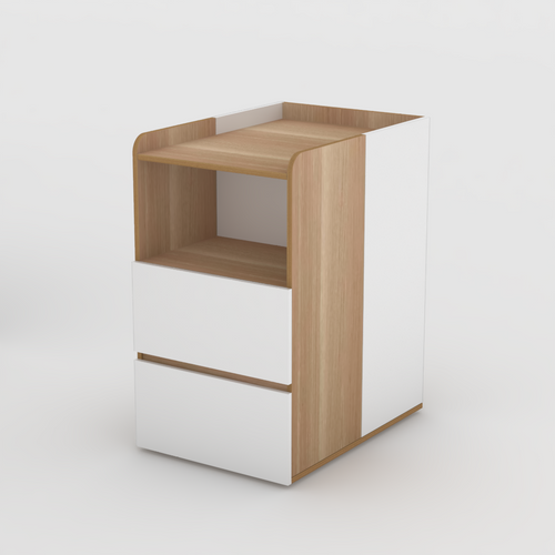 2 Tone Change table with drawers in Native Oak and White