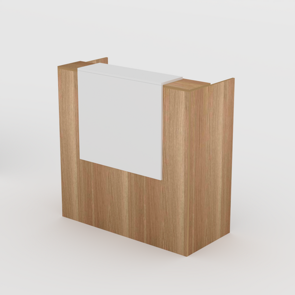Reception Desk in Native Oak with White Overhang- Standing or Seated Desk Height