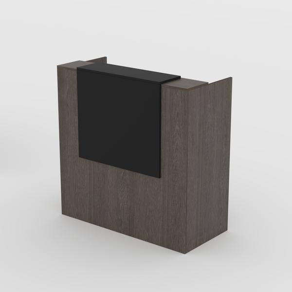 Reception Desk in Bavarian Oak with Black Overhang- Standing or Seated Desk Height