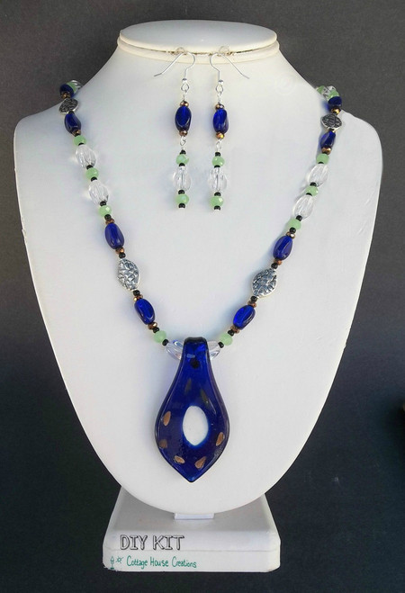 "Cobalt Glass ""Centered"" Pendant Necklace Earring Jewelry Making Kit"