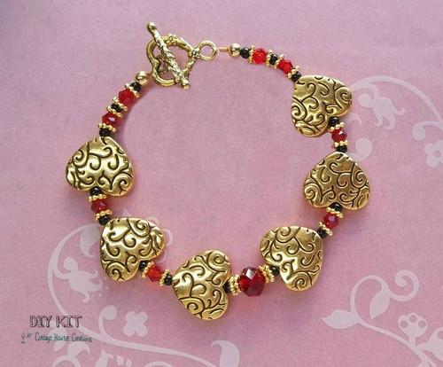 Scarlet Heart ~ Valentine's Bracelet Jewelry Making Bead Kit