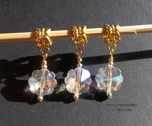Snowflake Glass AB Golden Euro Dangles European Charms