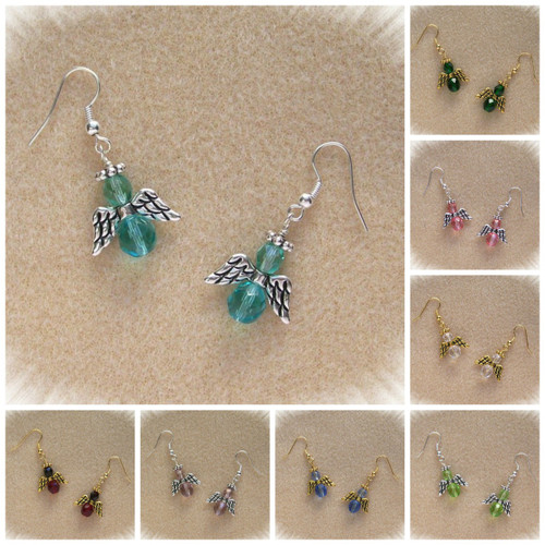 Birthstone Color Beaded Angel Earring Kits