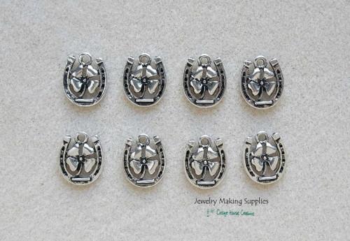 Clover in Horseshoe Good Luck Shamrock Jewelry Making Supply