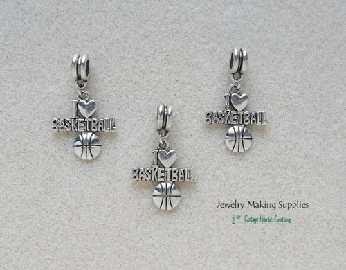 I Love Basketball European Style Charm Dangle for DIY Jewelry